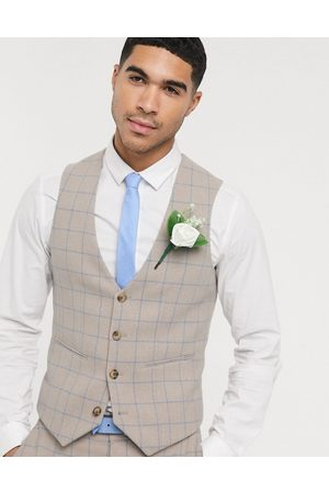 ASOS Wedding super skinny suit waistcoat in wool mix with grid check