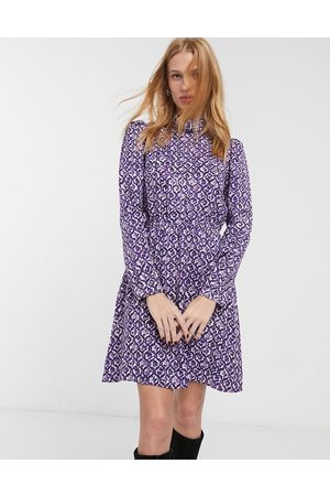 & OTHER STORIES Floral print high neck mini dress in
