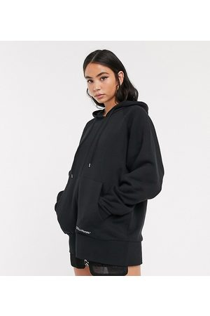 COLLUSION Oversized black hoodie with brand print