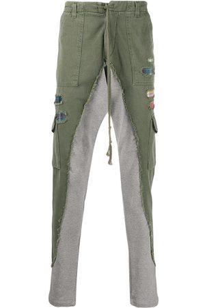 GREG LAUREN Men Cargo Pants - Contrast-leg cargo trousers