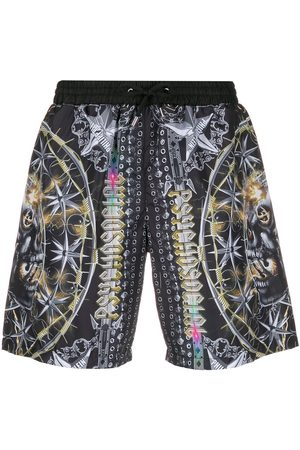 Philipp Plein Mixed pattern drawstring swim shorts