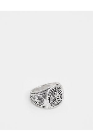 ASOS Signet ring with ace detail in burnished tone