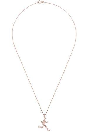 777 18kt rose gold diamond running man necklace