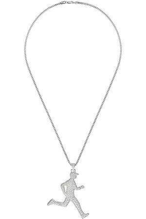 777 18kt white gold diamond running man necklace