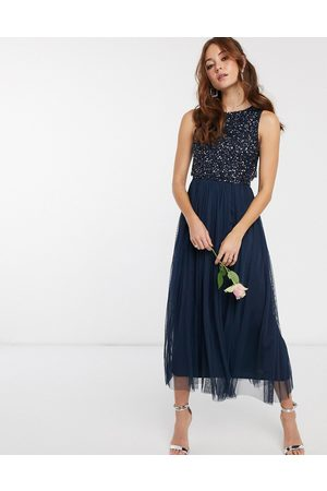 Maya Bridesmaid sleeveless midaxi tulle dress with tonal delicate sequin overlay in