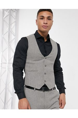 ASOS DESIGN Wedding super skinny suit waistcoat in wool blend micro houndstooth