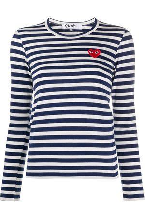Comme des Garçons Striped logo patch top