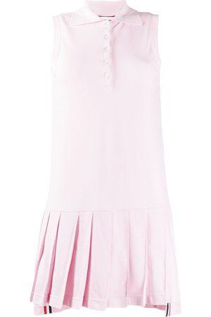 Thom Browne Classic Pique Sleeveless Pleated Tennis Dress
