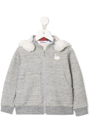 Familiar Long sleeve faux fur trimmed hoodie