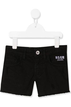 Msgm Girls Shorts - Embroidered logo denim shorts