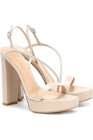 Gianvito Rossi Embellished leather plateau sandals