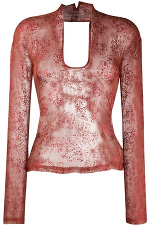 ROMEO GIGLI 1990s lace-up sheer blouse