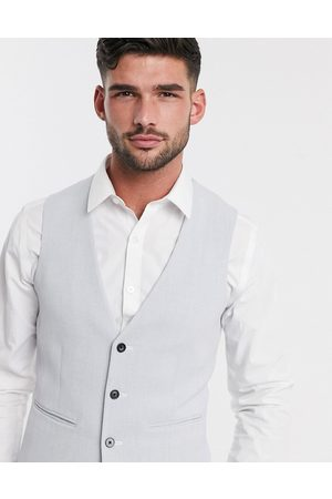ASOS Wedding super skinny oxford waistcoat in ice