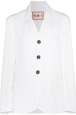 Plan C Single-breasted cotton-blend blazer