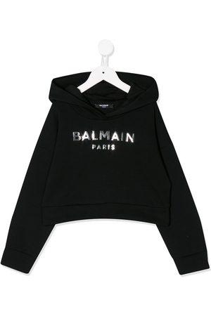 Balmain Boys Long Sleeve - Long sleeve mirrored logo hoodie