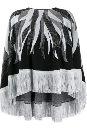 Roberto Cavalli Fringed hem knitted cape