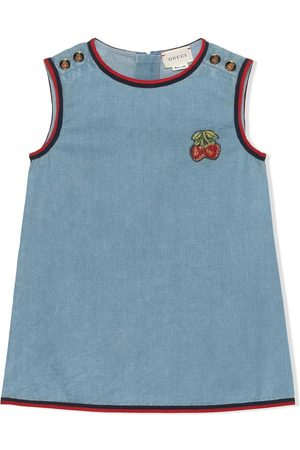 Gucci Strawberries embroidered denim dress