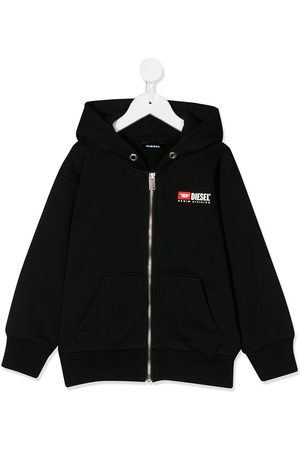 Diesel Salbyzip logo embroidered hoodie