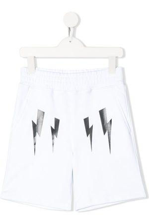 Neil Barrett Lightning bolt logo track shorts