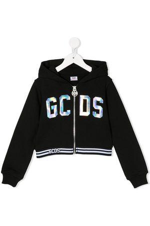 Gcds Kids Long sleeve holographic logo hoodie