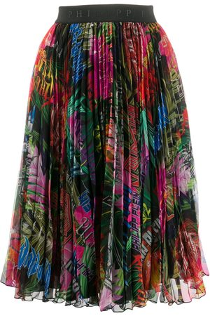 Philipp Plein Jungle rock print pleated skirt