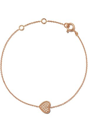AS29 18kt rose Mye heart beading pave diamond bracelet