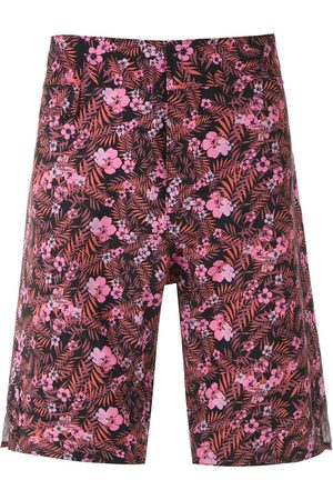 AMIR SLAMA Foliage and floral print swim short