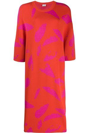 Ami Jacquard feather detail knit dress