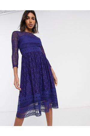 ASOS Premium lace midi skater dress in
