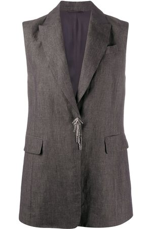 Brunello Cucinelli Women Gilets - Bead-detail sleeveless jacket