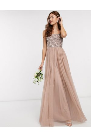 Maya Women Party Dresses - Bridesmaid sleeveless square neck maxi tulle dress with tonal delicate sequin overlay in taupe blush