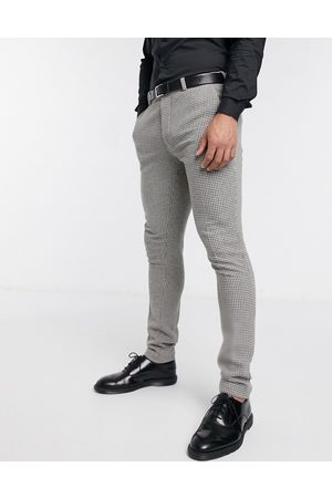 ASOS Wedding super skinny suit trousers in wool blend micro houndstooth