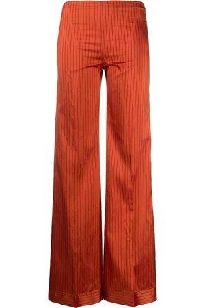 Romeo Gigli Pre-Owned Silk striped wide-legged trousers