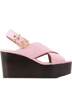 Marni 95mm cross straps wedge sandals