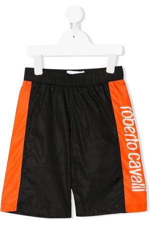Roberto Cavalli Colour-block logo swim shorts