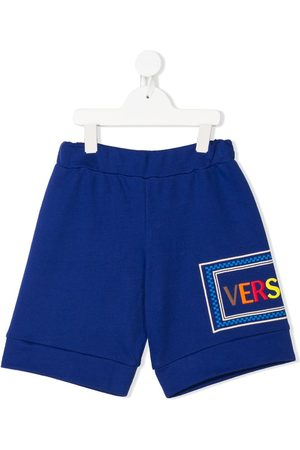 Young Versace Embroidered logo shorts