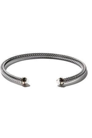 David Yurman 18kt yellow gold accented sterling silver Cable cuff bracelet