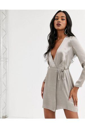 ASOS Women Midi Dresses - Wrap mini dress in high shine satin