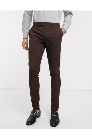 ASOS Wedding skinny suit trousers in mini check in burgundy and grey