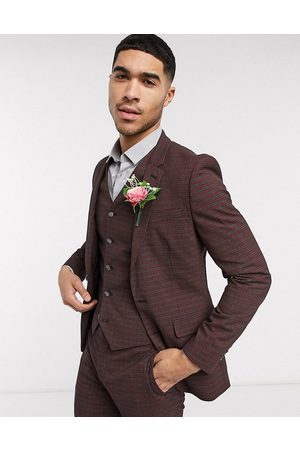 ASOS Men Blazers - Wedding skinny suit jacket in mini check in burgundy and grey