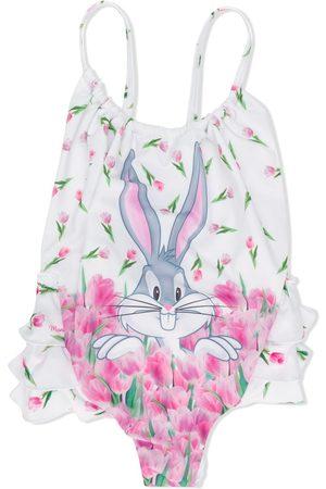 Monnalisa Bugs Bunny print ruffled swimsuit