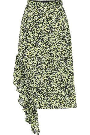 Rokh Floral high-rise midi skirt