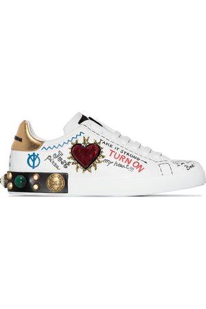 Dolce & Gabbana Portofino graffiti-print low top leather sneakers