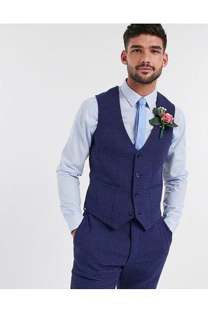 ASOS Wedding skinny suit waistcoat in wool blend micro houndstooth