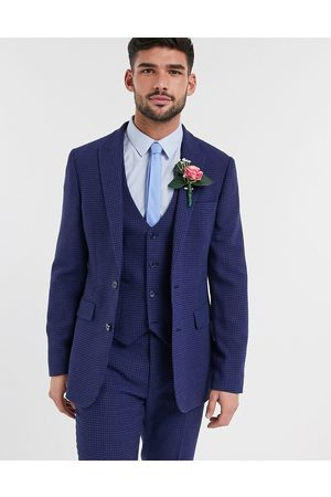 ASOS Wedding skinny suit jacket in wool blend micro houndstooth