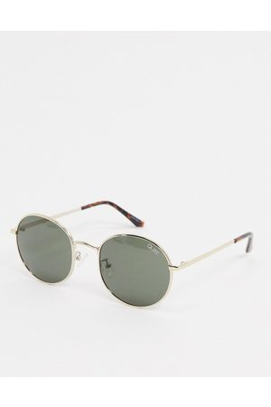 Quay Australia Modstar round sunglasses in with green lens