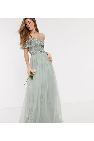 Maya Bridesmaid bardot maxi tulle dress with tonal delicate sequins in sage