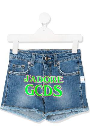 GCDS Printed-logo denim shorts