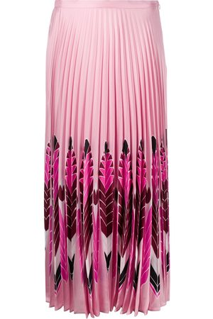 VALENTINO Feather print pleated midi skirt
