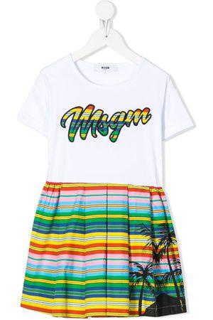 Msgm Girls Casual Dresses - Embroidered rainbow logo dress